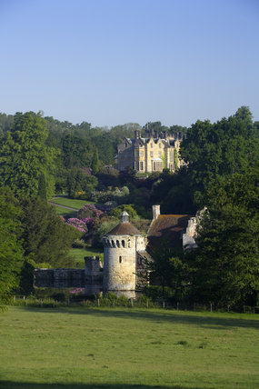 The fourteenth-century ruin of Scotney Castle with the nineteenth-century house designed by Salvin beyond, at  Lamberhurst, Kent