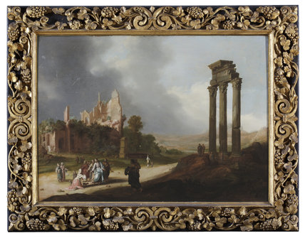 CLASSICAL RUINS WITH CHRIST AND THE WOMAN OF SAMARIA by Bartholomeus Breenbergh (ca.1598-1657), painting in the Duke's Dressing Room at Ham House, Richmond-upon-Thames.