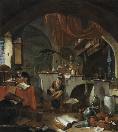 AN ALCHEMIST by Thomas Wyck (1616-1677), painting in the Withdrawing Room at Ham House, Richmond-upon-Thames