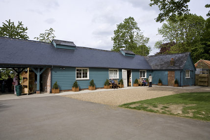Exterior of the Farm Shop, converted from the stables, at Polesden Lacey, Surrey