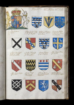 Page of heraldic arms, at Castle Ward, Co. Down, Northern Ireland.