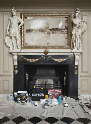 Conservation in the Great Hall at Ham House, Richmond-upon-Thames