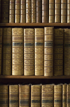 Leather bound volumes at Castle Ward, Co. Down, Northern Ireland.