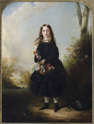 LADY FLORENCE PAGET AS A GIRL (1842-1881) by The Honourable Henry Graves (1818-1882), painting on the Middle Landing at Plas Newydd, Anglesey