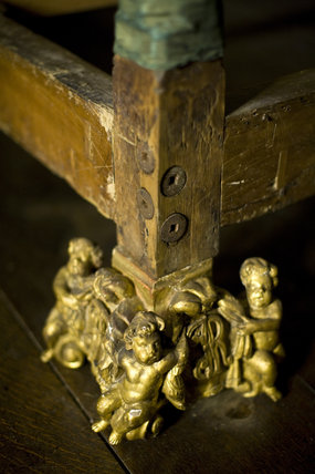 Detail of the gilded feet of the King James II bed at Knole, Kent, showing the