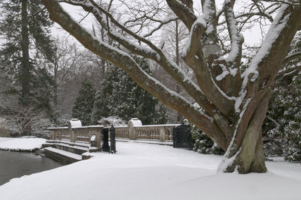 Bridge between the First and Second lakes under snow at Sheffield Park, East Sussex