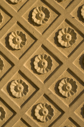 Plasterwork flower motif of the window recess in the Rotunda, one of Capability Brown's
