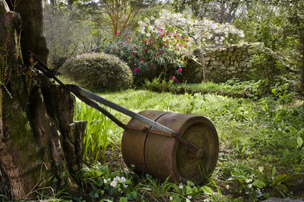 Old roller in the garden in April at Godolphin House,  near Helston, Cornwall
