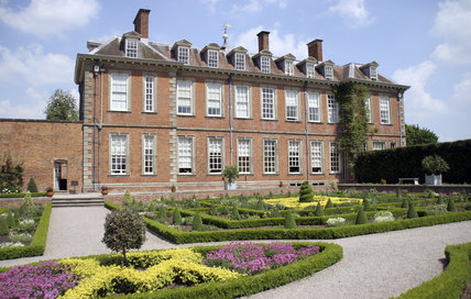Hanbury Hall, Worcestershire, seen over the Parterre Garden. The William and mary-style house was completed in 1701.