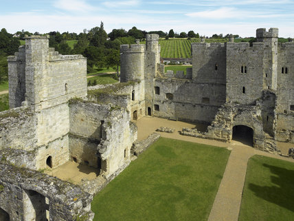 View overlooking the interior of Bodiam Castle, East Sussex, built between 1385 and 1388