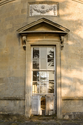 Pedimented door of The Rotunda, one of Capability Brown's