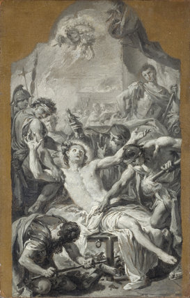 SKETCH OF THE MARTYRDOM OF ST LAWRENCE, grisaille painting by Giovanni Batista Pittoni (1687-1767), at Hinton Ampner
