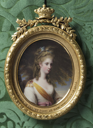 ANNA MARIA LEWIS, COUNTESS OF DYSART (1745-1804) by Henry Bone after Sir Joshua Reynolds, miniature painting in the Green Closet at Ham House, Richmond-upon-Thames