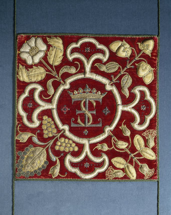 Crimson velvet panel, sixteenth-century, with initials 'ES' surmounted by a coronet, for Elizabeth, Countess of Shrewsbury, at Hardwick Hall