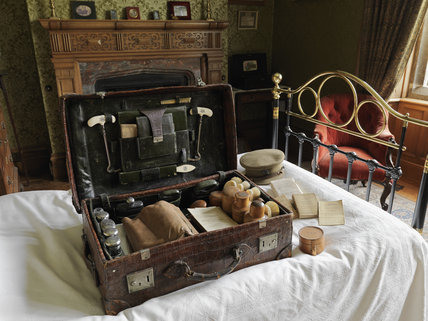 The travelling case used by Tommy Robartes during his time with the Coldstream Guards in the First World War, in his bedroom at Lanhydrock, Cornwall