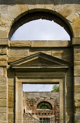 View through the arches and doorway of the Orangery, which was begun in 1772 to a design attributed to James Paine, at Gibside, Newcastle upon Tyne