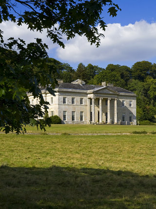 The South front of Philipps House, designed by Jeffry Wyatville in 1820 for William Wyndham, set in Dinton Park at Salisbury, Wiltshire