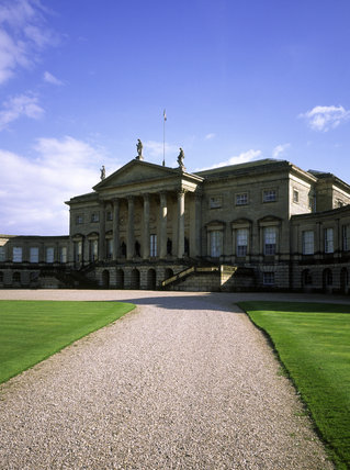 The central portico on the north front of Kedleston Hall, Derbyshire