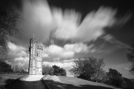 Black & white image of Leith Hill Tower, Surrey, an eighteenth-century Gothic tower  built on the summit of the highest point in South East England