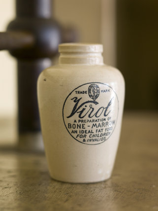 A Virol stoneware jar which dates from the Second World War, discovered in a local millrace