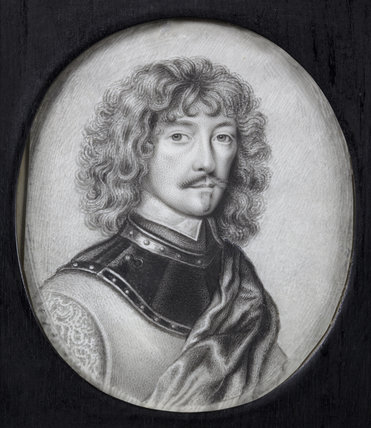 WILLIAM MURRAY, 1ST EARL OF DYSART by David Paton (fl.1660-1695), miniature painting in the Duchess's Private Closet at Ham House, Richmond-upon-Thames.