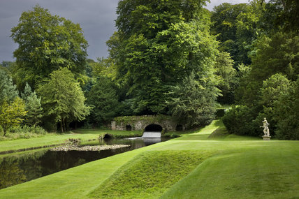 The Canal and Rustic Bridge at Studley Royal Water Garden, adjoining the estate at Fountains Abbey, North Yorkshire