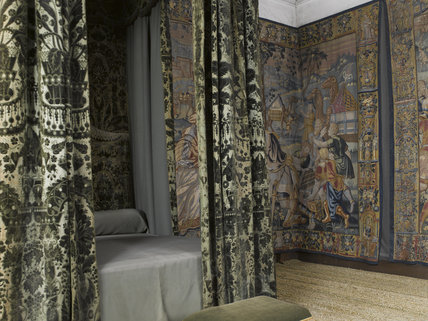 The Green Velvet Room, known as the Best Bedchamber in the 1601 inventory, at Hardwick Hall, Derbyshire