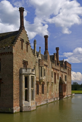 The west range at Oxburgh Hall, Norfolk, a fifteenth century moated manor house, home to the Bedingfeld family since 1482
