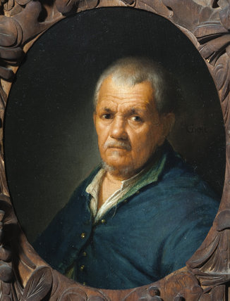 HEAD OF AN OLD MAN by Gerard Dou (1613-1675), miniature painting in the Green Closet at Ham House, Richmond-upon-Thames