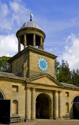 The Clock Tower with a cupola of Doric columns, completed in 1754 at Wallington, Morpeth, Northumberland