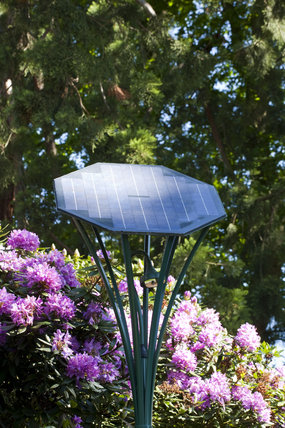 Solar-powered lighting in the garden at Gibside, Newcastle upon Tyne