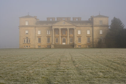 Misty view of the south front of Croome Court, Croome Park, Worcestershire
