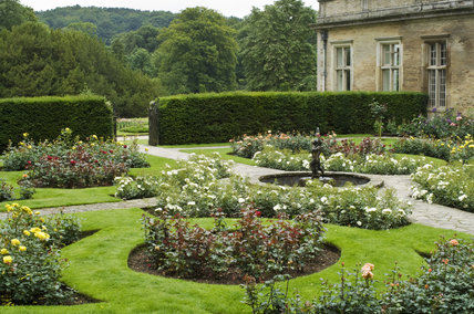 The Rose Garden to the east of the Orangery at Lyme Park, Cheshire