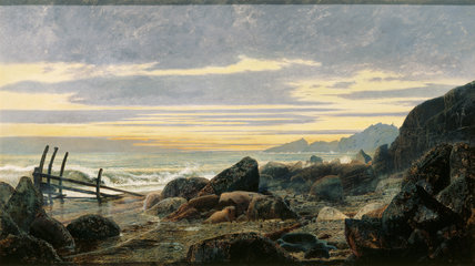 COASTAL SCENE depicting rocky boulders and groynes, by Atkinson Grimshaw, post-conservation at Derwent Island.
