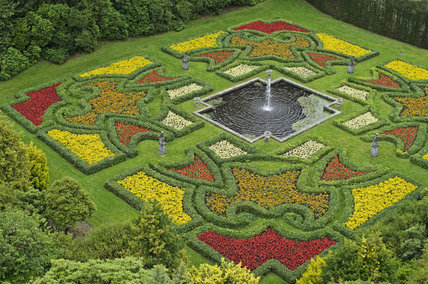 Summer bedding in the sunken Dutch Garden at Lyme Park, Cheshire