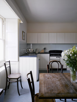 Kitchen in The Apartment at Greenway, Devon, which was the holiday home of the crime writer Agatha Christie between 1938 and 1976