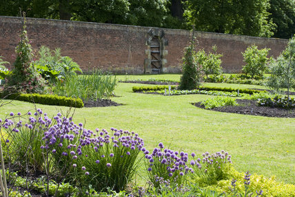 Herbs and beds in the Walled Garden which covers 4 acres at Gibside, Newcastle upon Tyne