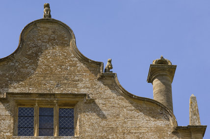 Detail of the Flemish or Dutch type gable at Montacute House, Somerset