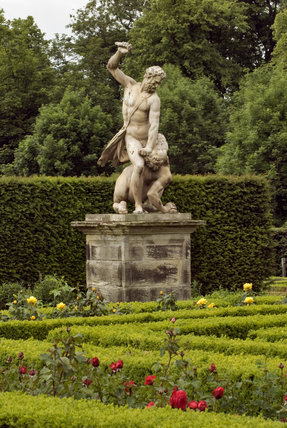 Statue of David slaying Goliath  in the Rose Garden at Seaton Delaval Hall, Northumberland