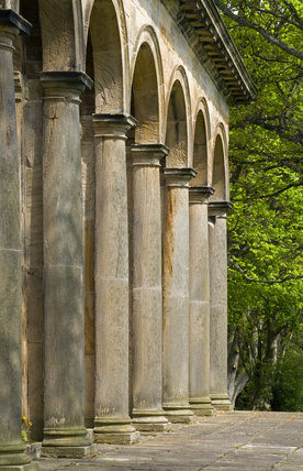 Tuscan columns of the Orangery, which was begun in 1772 to a design attributed to James Paine, at Gibside, Newcastle upon Tyne
