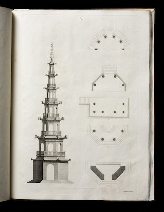 Illustration of a pagoda from William Chambers