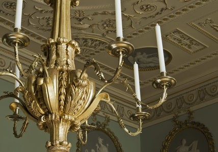 The chandelier in the Library at Berrington Hall, Herefordshire