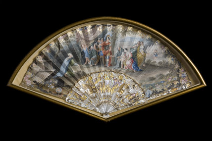 Framed French fan showing Coriolanus and his family, which belonged to Comte de Flahaut's mistress, in the Boudoir at Berrington Hall, Herefordshire