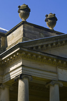 Ornamental urns on the portico of the Palladian Chapel, begun in 1760 to the design of James Paine, at Gibside, Newcastle upon Tyne