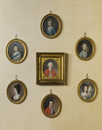 Set of pastels by, after or in the manner of Hugh Douglas Hamilton, central of which is COL. WILLIAM CONYNGHAM MP (1723-84),  in the Drawing Room at Springhill , Co. Londonderry.