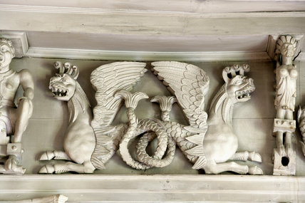 Close view of the early seventeenth-century mermaid frieze in the Ballroom at Knole, Sevenoaks, Kent