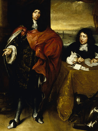 ROGER PALMER, EARL OF CASTLEMAINE (1634-1705) AND HIS SECRETARY attributed to Sebastiano Bombelli (1635-1716) in the Oak Drawing Room at Powis Castle. T.POW.31