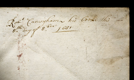 Handwritten inscription by Robert Conyngham, part of the Springhill Library collections, Co. Londonderry.