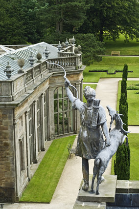 Statue of Diana overlooking the Orangery at Lyme Park, Cheshire
