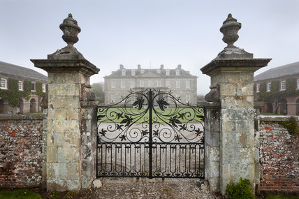 The wrought-iron gates at the south front of Antony, Cornwall